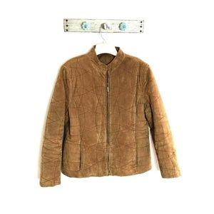 Luis Alvear L Tan 100% Leather Quilted Bomber
